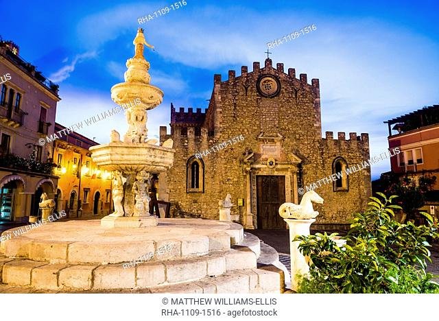 Piazza del Duomo at night, with the Church of San Nicola (Fortress Cathedral) and famous fountain, Taormina, Sicily, Italy, Europe