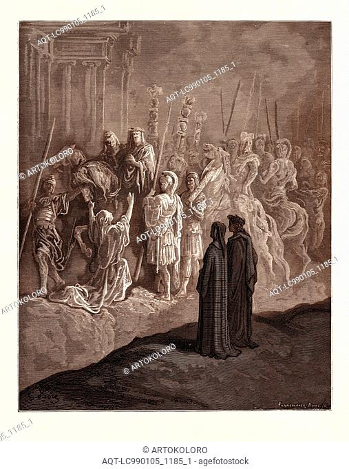 THE ROMAN WIDOW AND THE EMPEROR TRAJAN, BY GUSTAVE DORÉ. Gustave Dore, 1832 - 1883, French. Engraving for the Purgatorio by Dante