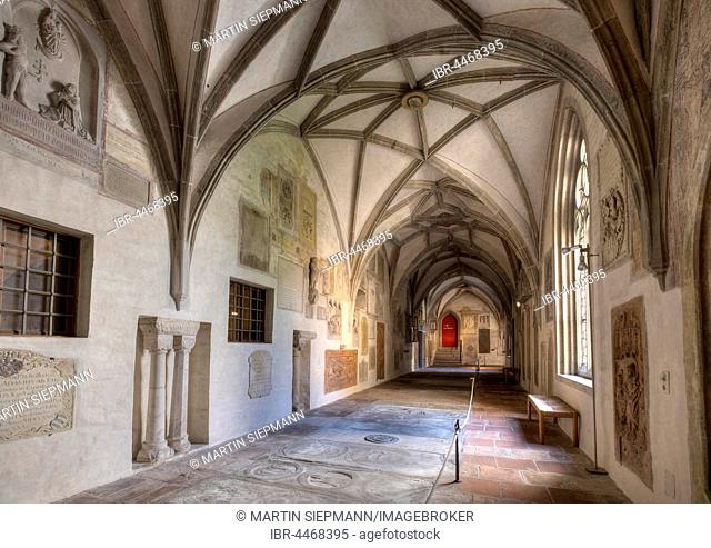 Cloister inside the Cathedral of Augsburg, Augsburg, Swabia, Bavaria, Germany