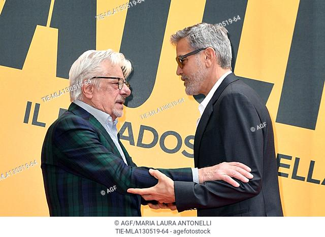 Giancarlo Giannini, George Clooney during 'Catch-22' TV show photocall, Rome, Italy - 13 May 2019