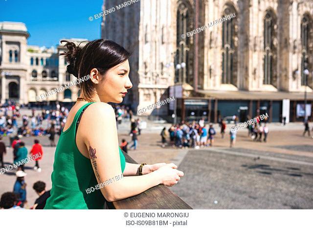Woman outside Il Duomo, Milan, Italy