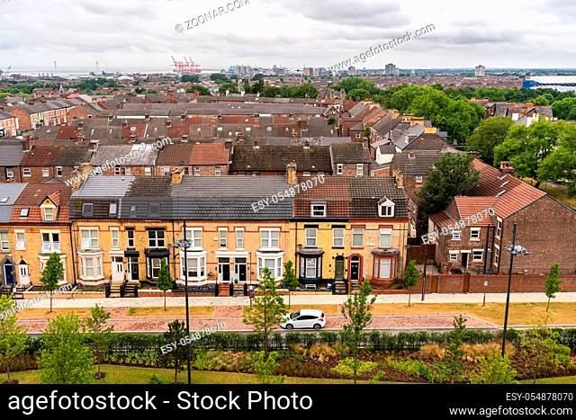 aerial view of Liverpool house around Anfield road and stadium in Liverpool England UK