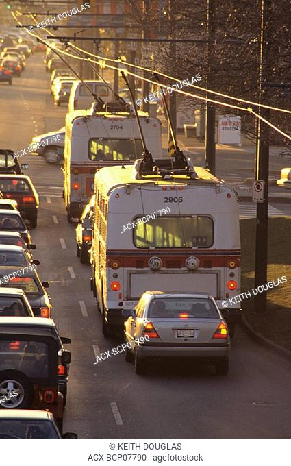 Traffic on Kingsway and Boundary, Vancouver, British Columbia, Canada