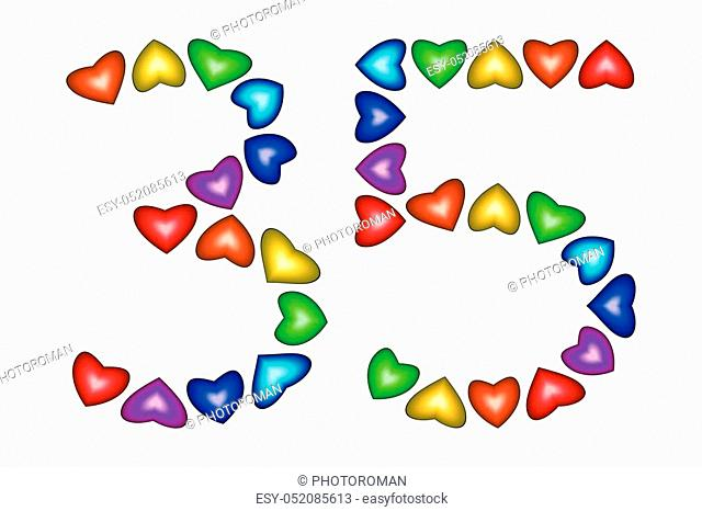 Number 35 of colorful hearts on white. Symbol for happy birthday, event, invitation, greeting card, award, ceremony. Holiday anniversary sign