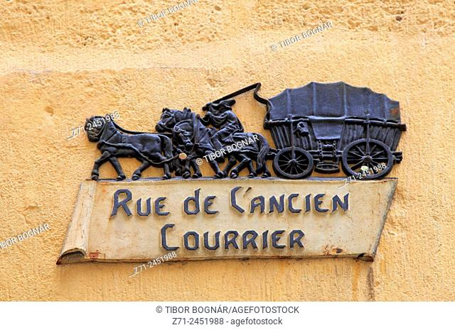 Street sign, Montpellier, Languedoc-Roussillon, France