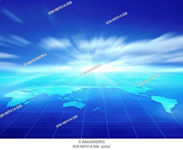 Digital composite of globe on grid under blue sky