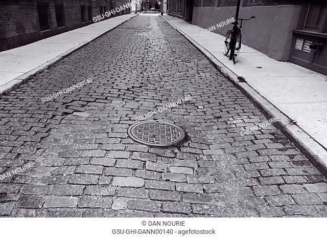 Cobblestone Street and Manhole Cover, Manhattan, New York City, USA