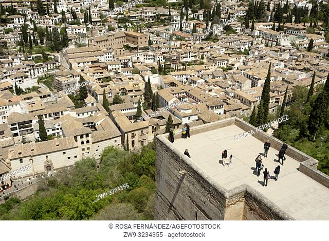 View of the Albaicin quarter and city o Granada from La Alhambra, Unesco World Heritage Site, province of Granada, Spain, Europe
