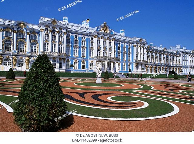 Catherine Palace (1752-1756), architect Bartolomeo Francesco Rastrelli (1700-1771), Pushkin (Tsarskoye Selo), near St Petersburg, Russia