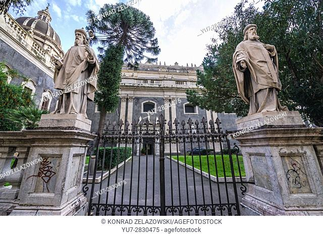 Gate of Roman Catholic Metropolitan Cathedral of Saint Agatha on Cathedral Square in Catania city on the east side of Sicily Island, Italy