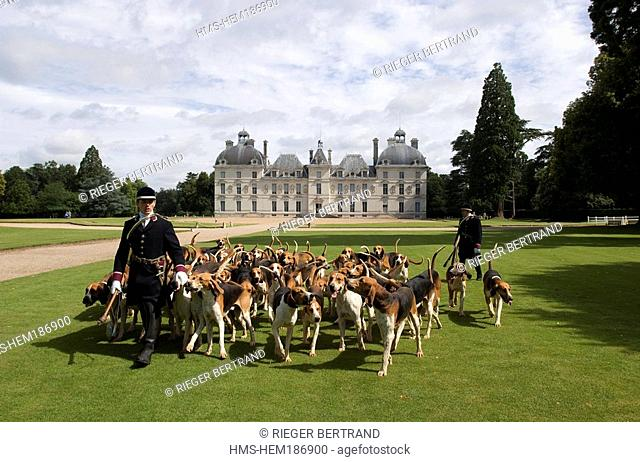 France, Loir et Cher, Chateau de Cheverny, Vol au Vent whippers who manage the pack of 90 dogs for hunting