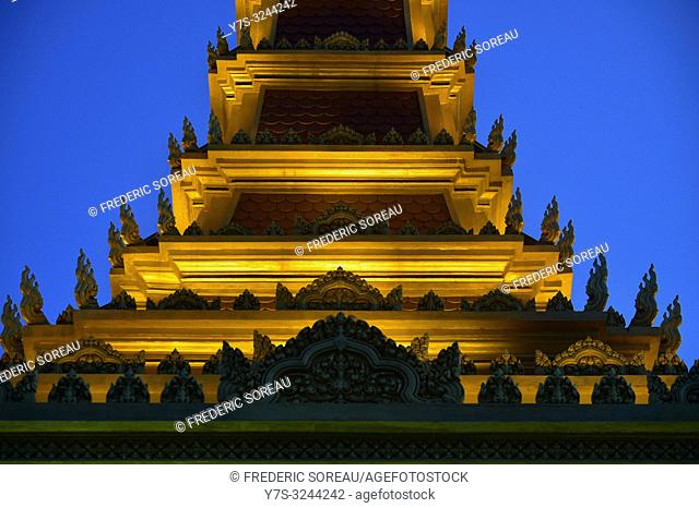 Buddhist stupa in Phnom Penh, Cambodia, South east Asia