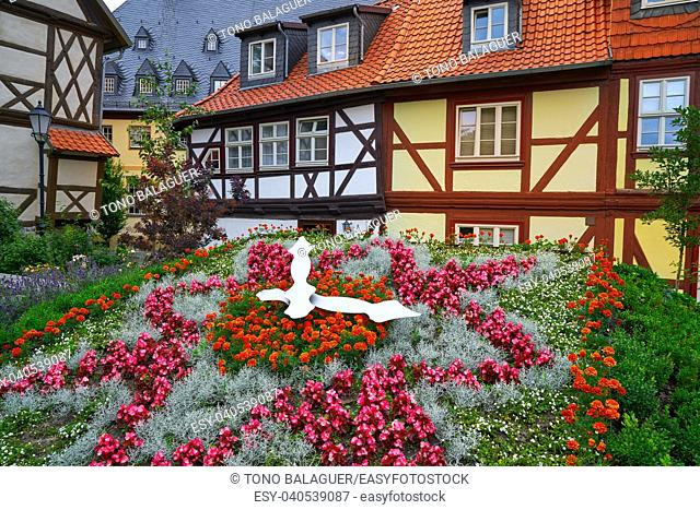 Wernigerode flower clock garden in Harz Germany at Saxony Anhalt