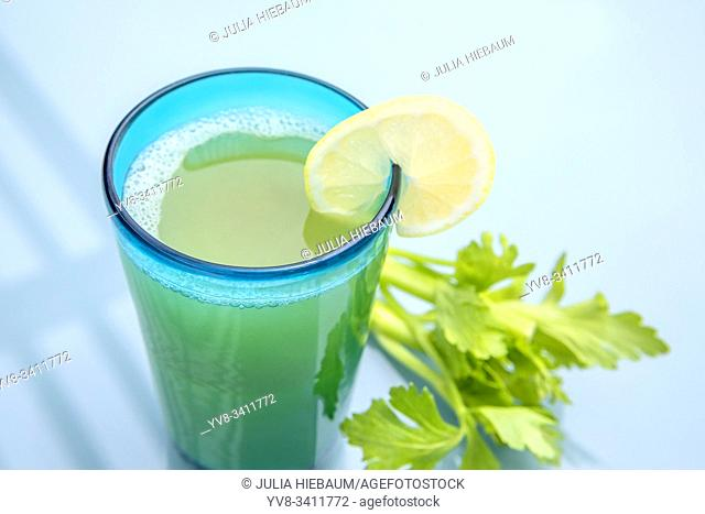 A glass of organic celery juice