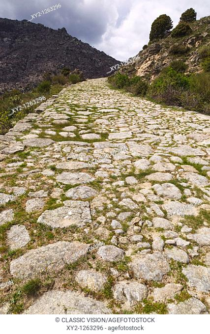 Roman road at Puerto del Pico, near Mombeltran, Sierra de Gredos, Avila Province, Spain