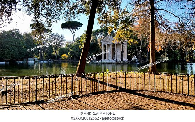 The Esculapio Temple. Artificial lake. Villa Borghese Park. Rome, Italy
