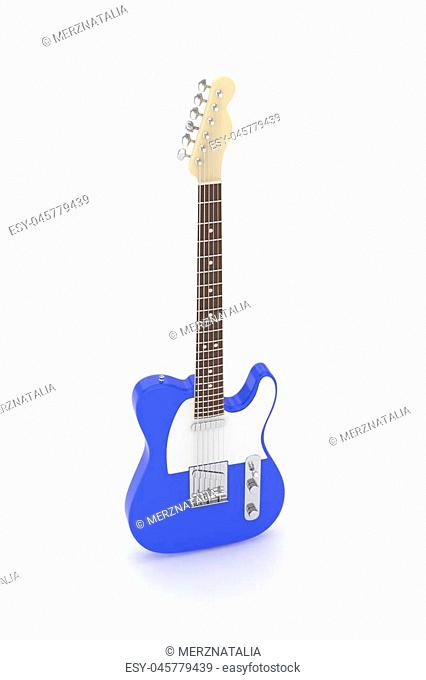 Isolated blue electric guitar on white background. Musical instrument for rock, blues, metal songs. 3D rendering