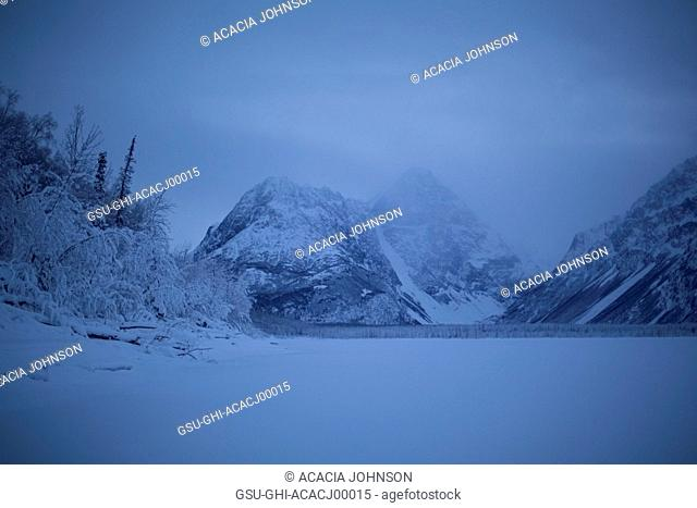 Blue Winter Landscape with Foggy Mountains, Alaska, USA