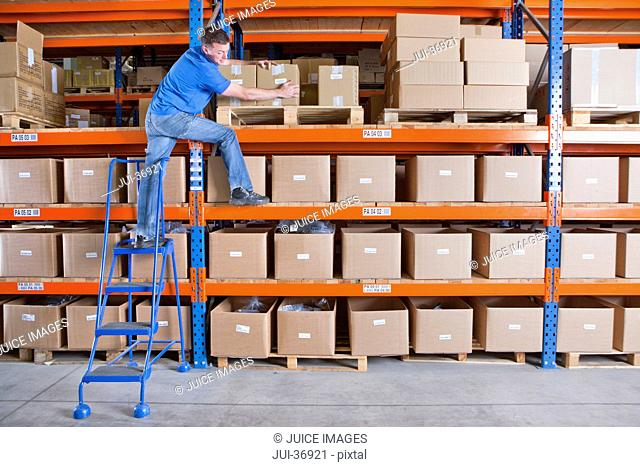 Worker standing on shelf and reaching for cardboard box in distribution warehouse