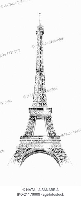 Drawing of the Eiffel Tower, Paris