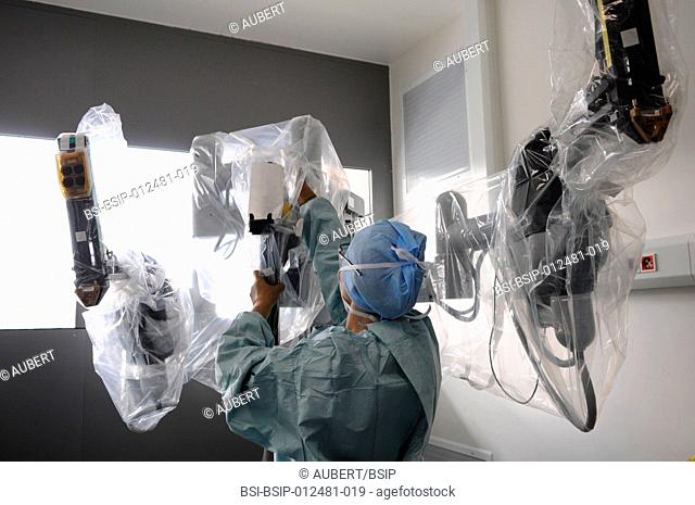 Photo essay at Lyon hospital in France. Department of urology. Prostatectomy. This hospital has a robotic surgical system Da Vinci Surgical System made by...