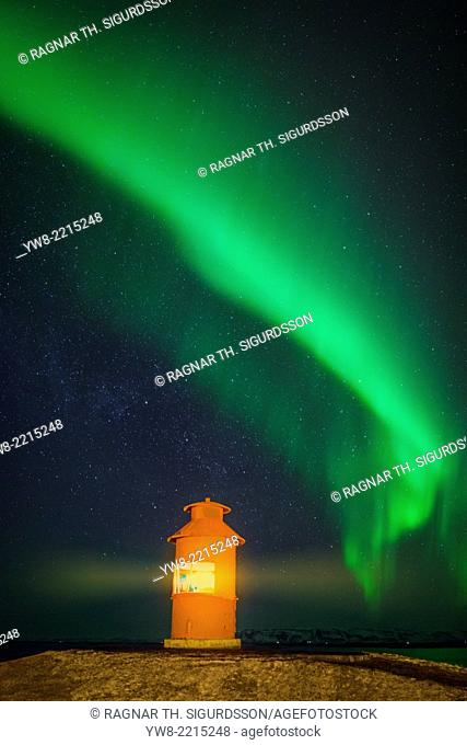 Lighthouse with Aurora Borealis or Northern Lights, Iceland
