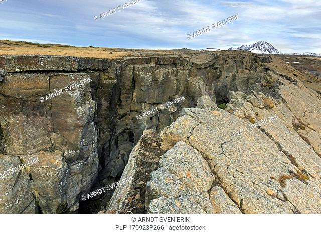 Grjotagia gaping fissure / Grjótagjá tectonic crack, Mid-Atlantic Ridge running through Iceland at Eastern Mývatn