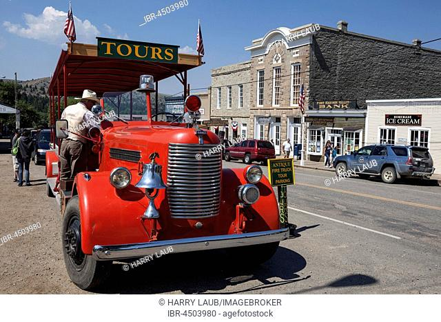 Oldtimer for tourist tours, Virginia City, former gold mining town, Montana Province, USA