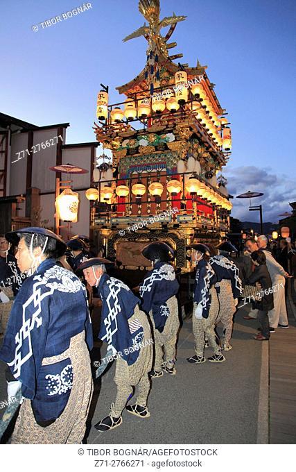Japan, Gifu, Takayama, festival, night, procession, float, yatai,