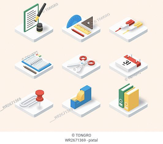 Various icons of office supplies
