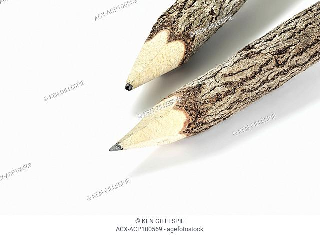 Close up of wooden pencils, on white background