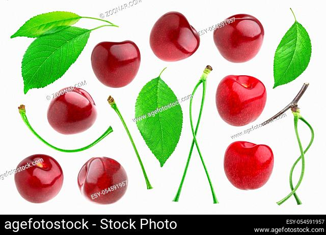 Cherry isolated on white background with clipping path. Collection