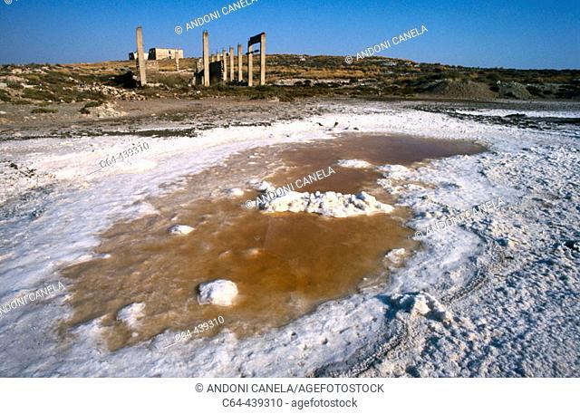 Salt pans, Los Monegros, Zaragoza province, Spain