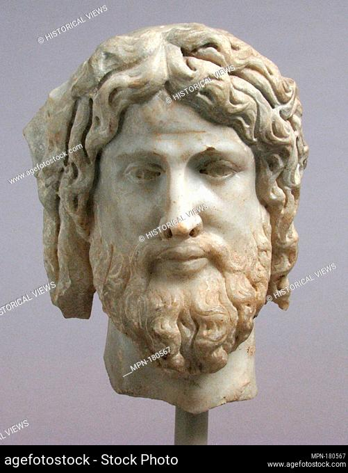 Head of Christ or Zeus. Date: 3rd or 4th century and later transformation; Culture: Roman; Medium: Marble; Dimensions: Overall: 11 1/4 x 8 1/4 x 7 3/4 in