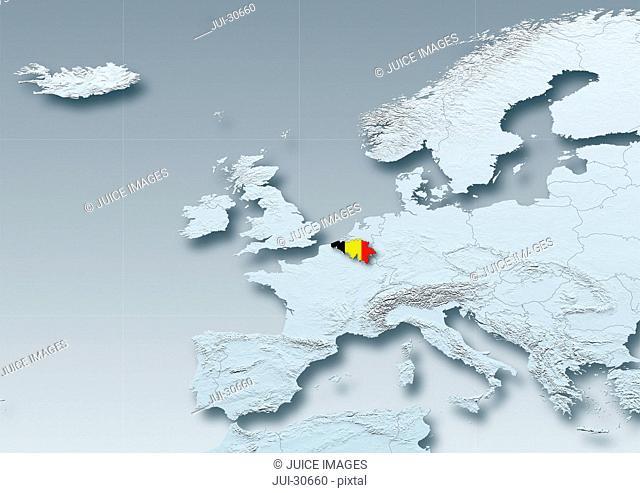 Belgium, flag, map, Western Europe, grey, physical, grey, political