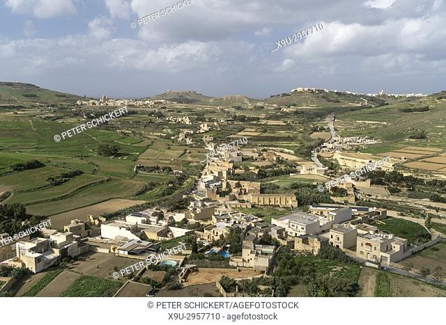 view over Victoria to Ghasri, Gozo, Malta
