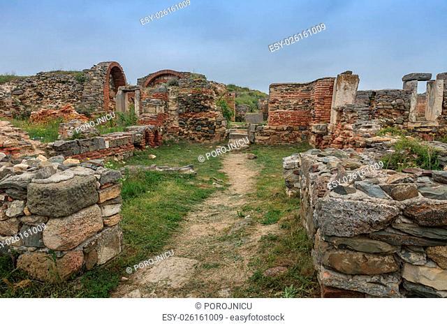 Roman ruins of Histria citadel. Dobrogea, Romania