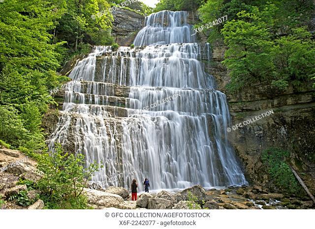 L'Eventail Waterfall, Herisson Waterfalls, Cascades du Hérisson, Menetrux-en-Joux, Franche-Comté, France