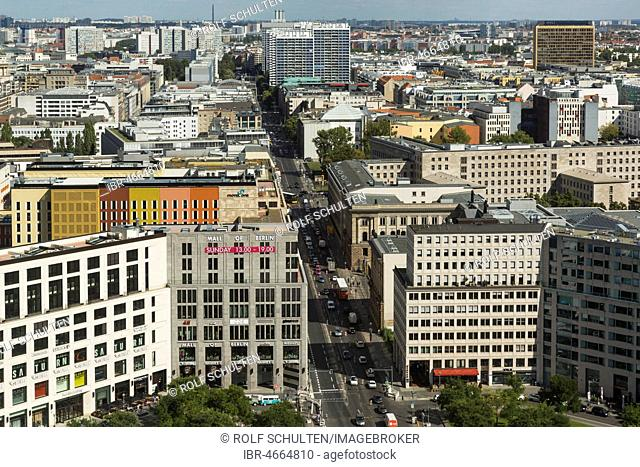 View from the DB-Tower to Leipziger Platz and Leipziger Straße, in front left Mall of Berlin, Berlin, Germany
