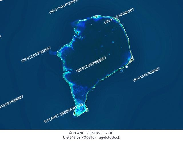 Satellite view of Funafuti, an atoll on which the capital of the island nation of Tuvalu is located. This image was compiled from data acquired by Landsat 8...