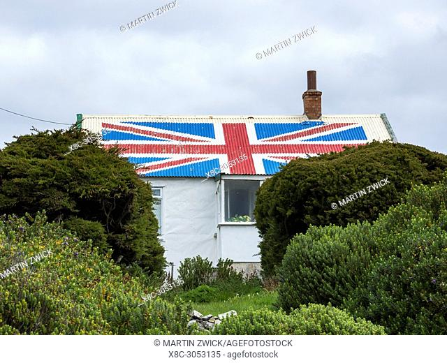 Colonists cottages, the old town of Stanley, capital of the Falkland Islands. South America, Falkland Islands, November