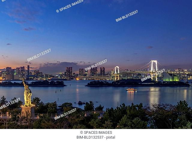 Tokyo city skyline lit up at night, Tokyo, Japan