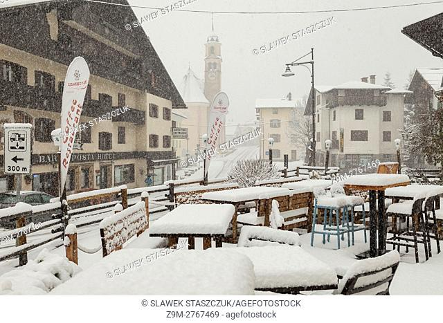 Early November snow in Sappada, Veneto, Italy. Dolomites