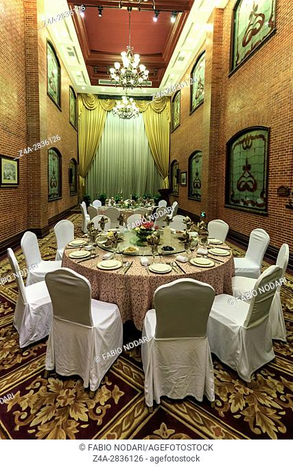 Shanghai, China - March 2, 2017: Dining room inside the Astor House hotel, a famous landmark of Shanghai. This hotel has hosted many celebrities such as Albert...
