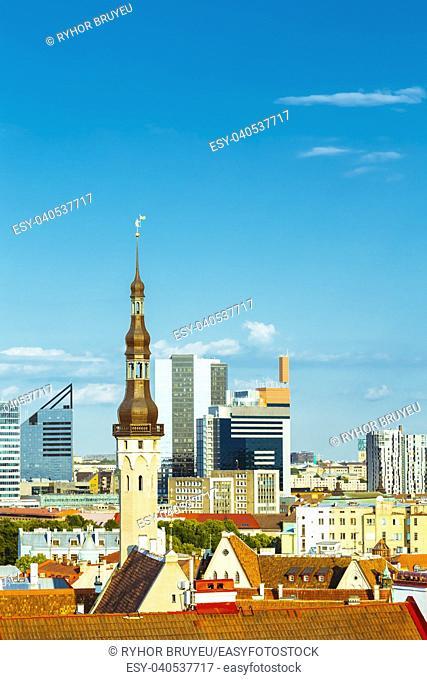 Scenic View Cityscape Old City Town Tallinn In Estonia