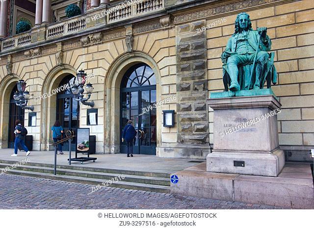 Statue of Ludvig Holberg in front of the Royal Danish Theatre (Det Kongelige Teater), Copenhagen, Denmark, Scandinavia. Holberg was a Danish-Norwegian writer