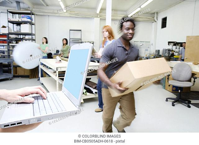 People working in shipping department