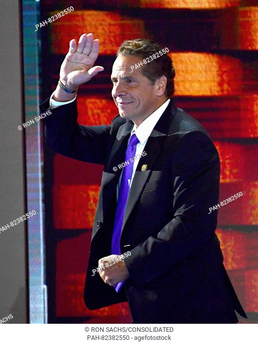 Governor Andrew Cuomo (Democrat of New York) departs after making remarks during the fourth session of the 2016 Democratic National Convention at the Wells...
