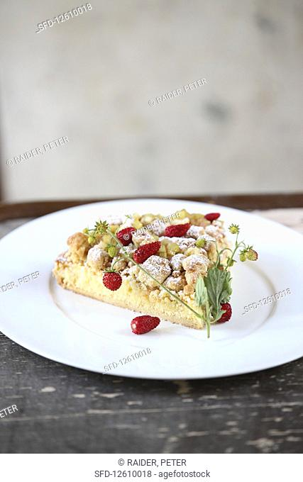 A piece of strawberry crumble cake with rhubarb