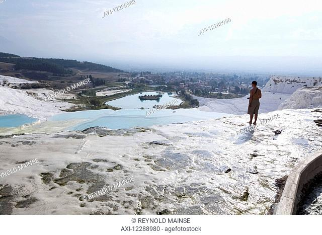 Tourist at the mineral rich pools and hot springs; Pamukkale, Turkey